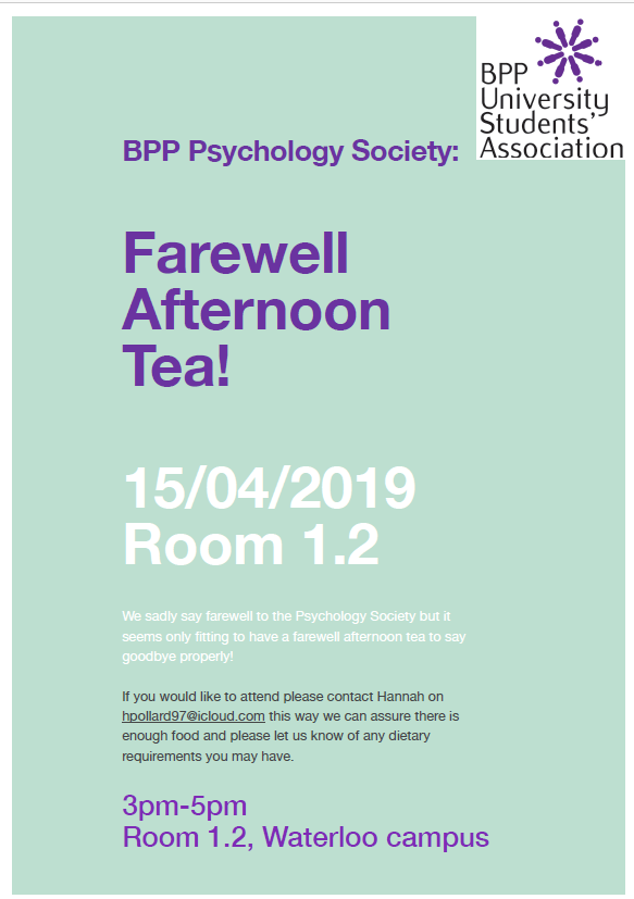 BPP Psychology Society: Farewell Afternoon Tea!